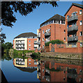 SK5639 : Flats reflected in the Nottingham Canal by John Sutton