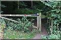 SU9299 : Mantle's Wood gate by Robert Eva