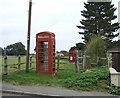 TM4686 : Elizabeth II postbox and phonebox on the B1127, Hulver Street by JThomas