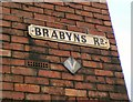 SJ9593 : V sign on Brabyns Road by Gerald England