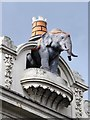 TQ3077 : Elephant & castle on the (former) Elephant & Castle not at The Elephant & Castle by Mike Quinn