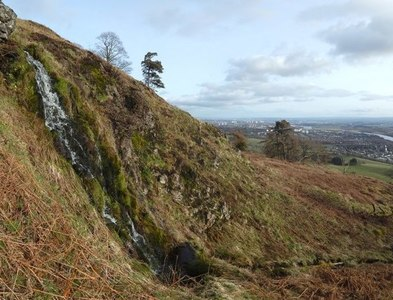 NS4674 : Small waterfall in Kilpatrick Braes by Lairich Rig