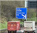 J3281 : Advance direction sign, M2 hill section, Belfast (March 2017) by Albert Bridge
