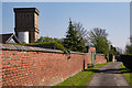 SK3516 : Ashby Cemetery path and Water Tower by Oliver Mills