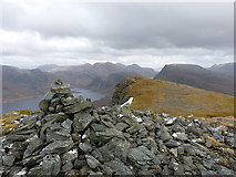 NG9376 : Summit cairn on Beinn Airigh Charr by Richard Law