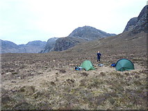 NG9675 : Camping below the Bealach Mhèinnidh by Richard Law