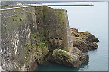 SX4853 : Coastal wall, Plymouth Sound by N Chadwick
