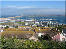 SY6873 : Portland marina and Chesil Beach from Fortuneswell by Gareth James