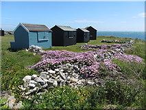SY6868 : Beach huts near Portland Bill by Gareth James