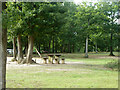 TQ5507 : Picnic table, Abbot's Wood by Robin Webster