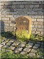 SJ3462 : A Chester Boundary Stone in front of Bridge farm, Kinnerton by John S Turner
