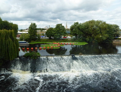 SE3320 : The weir on the River Calder, Wakefield by pam fray