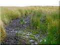 SD9730 : Waymark pole in a bog, Wadsworth by Humphrey Bolton
