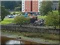 NS3975 : Demolition of West Bridgend Community Centre by Lairich Rig