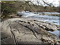 NZ1114 : Water worn rock slabs by the Tees by Gordon Hatton
