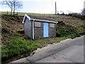 SS8589 : Single-storey stone building, Llan Road near Llangynwyd by Jaggery
