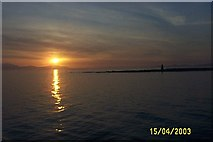 NS2142 : Sunset over Arran from Ardrossan Harbour by paul birrell
