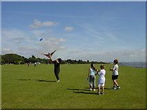 SJ3785 : Kite flying, Otterspool Promenade by Sue Adair