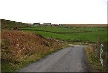 SE0414 : The lane across the top of Bradshaw Clough near Reaps, Slaithwaite by Humphrey Bolton