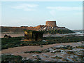 TM3539 : Martello Tower and an inverted Pillbox by the very eroded cliffs at East Lane, Bawdsey by Jon Hopkins