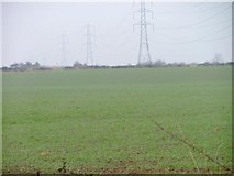 NZ4726 : Pylons and Field, Near Cloff Bridge by Mick Garratt