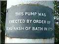 TQ0376 : Poyle Pump - inscription on the pump by Roger W Haworth