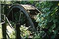SX2577 : North Hill: waterwheel at Stonaford by Martin Bodman