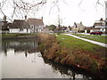TL4463 : Histon green, pond and B1049 road junction by Martyn Johnson