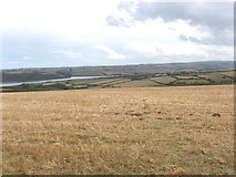 SW9471 : Corn field by Carthew Farm, view to Camel estuary by David Hawgood