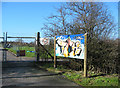 SJ6047 : Colourful graffiti on sewage works sign by Espresso Addict