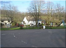 SO3512 : Road junction and playpark, Llanddewi Rhydderch by Ruth Sharville