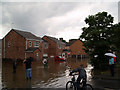 SE4204 : Riverside Close flooded by River Dearne by Steve  Fareham