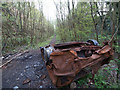 SE4203 : Burnt out car in railway cutting near site of former Darfield Station by Steve  Fareham