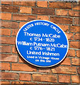 Photo of Thomas McCabe and William Putnam McCabe blue plaque