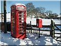 TF3565 : Postbox and K6 Telephone kiosk, Old Bolingbroke by Dave Hitchborne