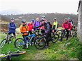NJ0011 : Mountain Bikers at Ryvoan Bothy by A A Lang