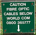 SX2193 : Fibre Optic cables sign at Exe Water Bridge by David Hawgood