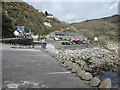 SW4524 : Cottages, car park and cafe at Lamorna Cove by Pauline E