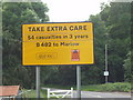 "SU7695 : ""Take extra care"" sign with number of casualties by David Hawgood"