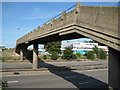 TL0328 : M1 Motorway footbridge at Toddington Services by Nigel Cox