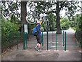TQ3977 : Up and over - cycle barrier in Greenwich Park by Stephen Craven