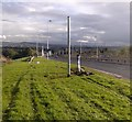 NT0567 : Broken lamppost / streetlight collision on A899 Livingston Road by Simon Johnston