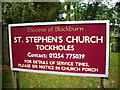 SD6523 : St Stephen's Church, Tockholes, Sign by Alexander P Kapp
