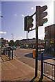 Looking this pedestrian crossing we can Southgate Station.