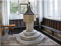 TM3669 : The Font in St.Peter's Church,Sibton by Adrian Cable