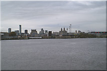 SJ3290 : Across Alfred Dock to Liverpool by David Long