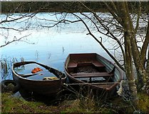 NN9147 : Anglers' boats on Loch Scoly by Rob Burke