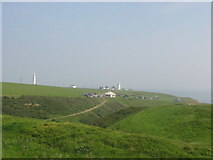 SS9168 : View across the Cwm to the lighthouses at Nash Point by M Hunter
