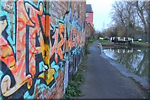 SK5702 : Graffiti covered warehouse by Mat Fascione