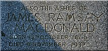 NJ2265 : Inscription in memory of James Ramsay Macdonald by Anne Burgess